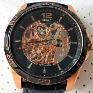 Relic by Fossil ZR11970 Rose Gold Skeleton Auto